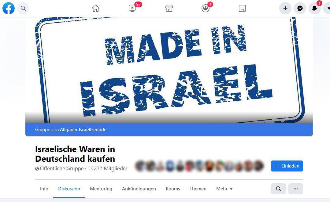 Facebookgruppe Israelische Waren in Deutschland kaufen