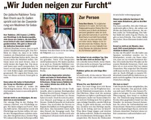 """19. September 2016: Interview des Südkuriers mit """"unserem"""" Rabbiner Tovia Ben-Chorin"""